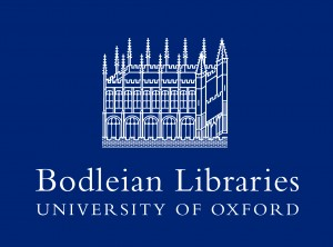 BODLEIAN LIBRARIES logo reversed out on blue